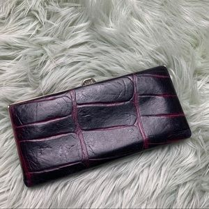 Lodis Pink/Purple Leather Reptile Embossed Wallet